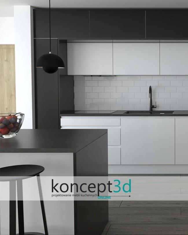 Biała cegła w kuchni nad blatem i wiszące czarne lampy | kuchenne inspiracje koncept3d