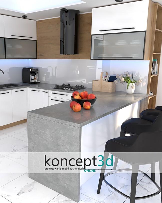 Biała kuchnia z szarym blatem   inspiracje kuchnia koncept3d