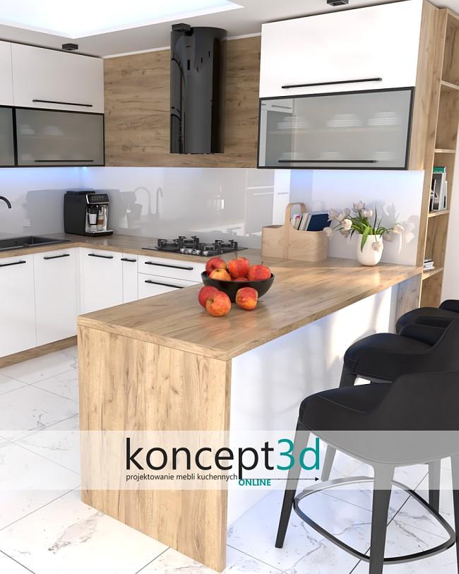 Biała kuchnia z drewnianym blatem   koncept3d wizualizacje mebli kuchennych