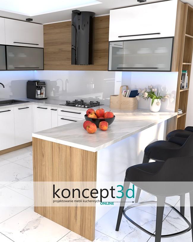 Biała kuchnia z białym blatem   koncept3d projekty kuchni ONLINE