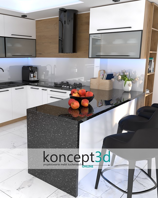 Biała kuchnia z czarnym blatem Andromeda   koncept3d projektowanie mebli kuchennych