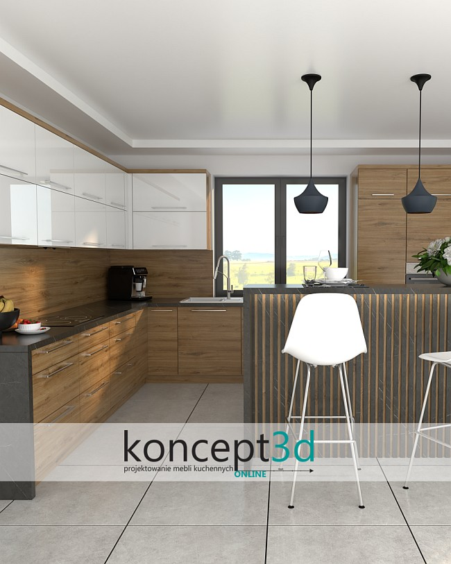 Dąb Odwieczny z białym i wyspą | koncept3d aranżacje mebli kuchennych