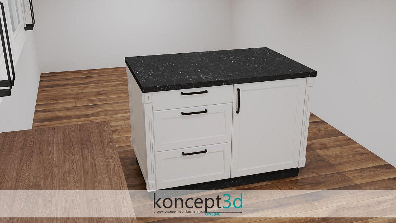 Modna wyspa kuchenna z czarnym kamiennym blatem | koncept3d projekty kuchni