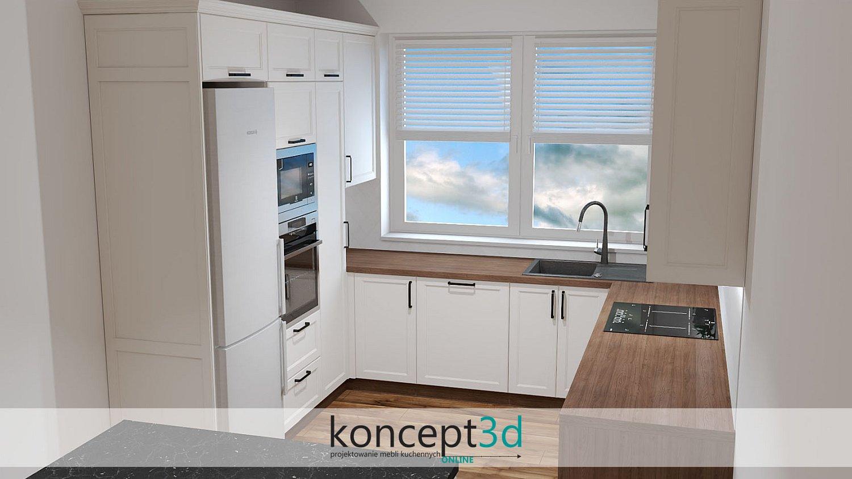 Czarne uchwyty w jasnej klasycznej kuchni z oknem | wizualizacje koncept3d
