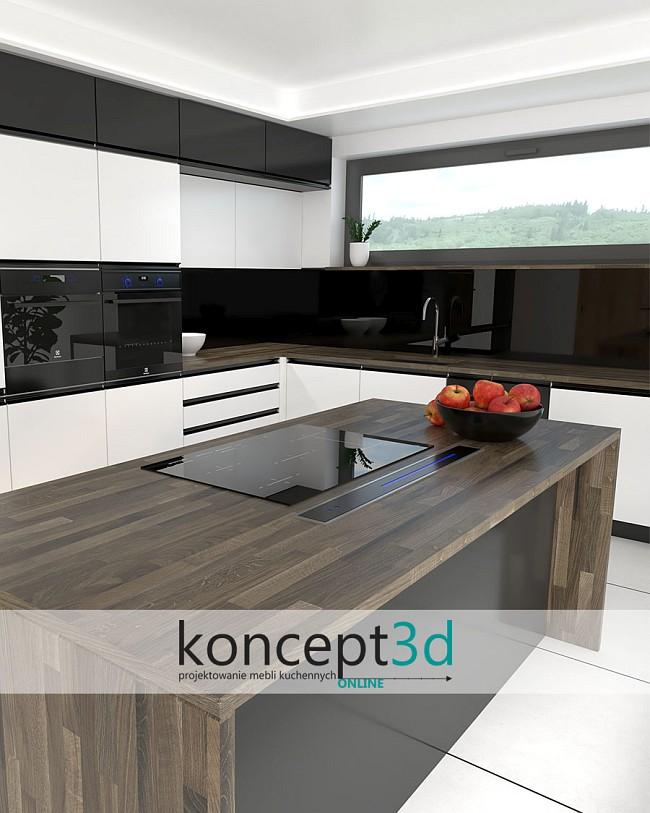 Aranżacja białych mebli kuchennych z drewnem i wyspą na środku | koncept3d projekty kuchni