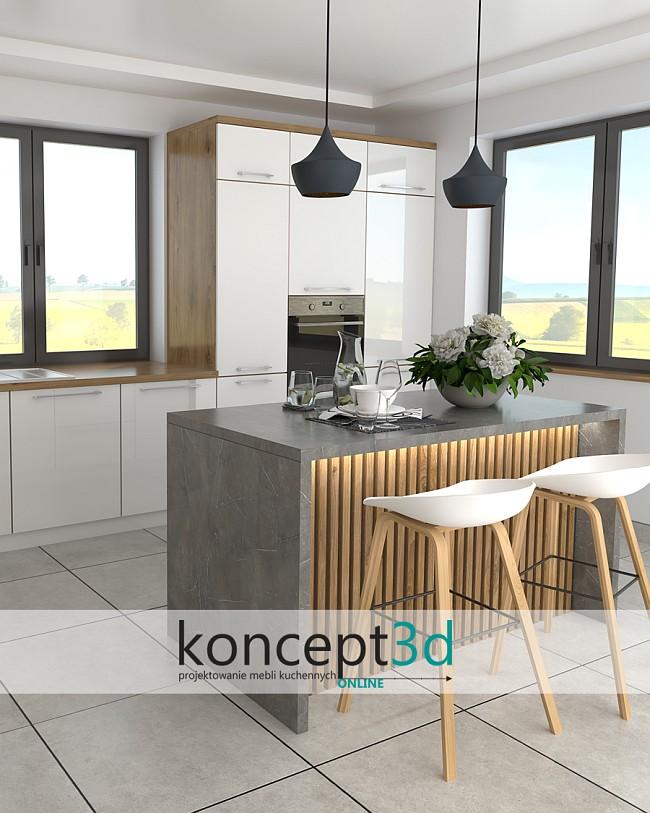 Kuchnia z wyspą do siedzenia i ciekawa jej aranżacja w drewnianym kolorze | koncept3d projekty kuchni