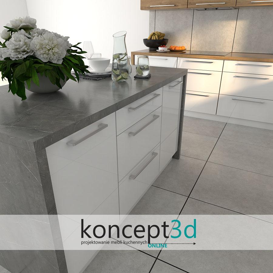 Szary blat w wyspie kuchennej otwartej na salon | koncept3d projekty kuchni