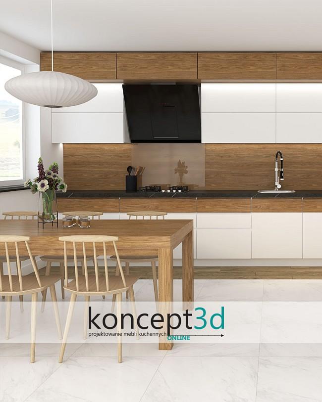 Biało drewniana nowoczesna kuchnia   aranżacje kuchni 2022 koncept3d