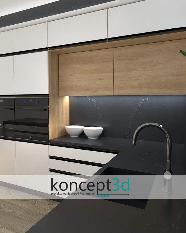 Ciemny blat w białej kuchni z czarnymi uchwytami   koncept3d projekty kuchni