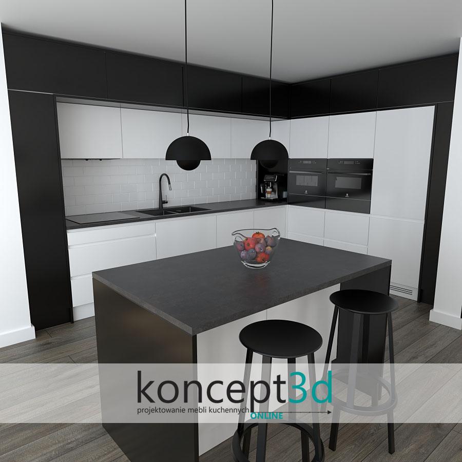 Biało czarna kuchnia z wyspą | aranżacje wnętrz koncept3d