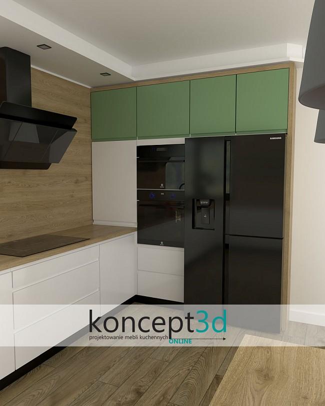 Biało zielona kuchnia | aranżacje koncept3d