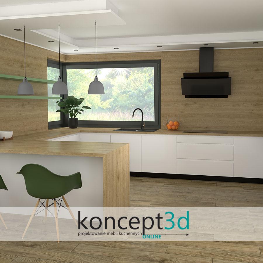 Biała kuchnia z drewnem jako pomysł na kuchnię | koncept3d