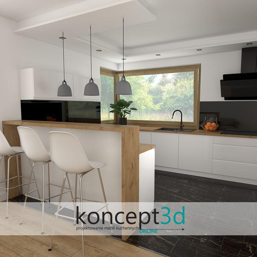 Kuchnia nowoczesna z półwyspem i oknem narożnym   koncept3d inspiracje