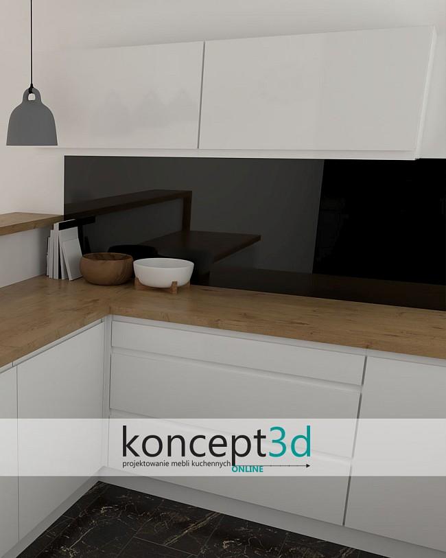 Kuchnia biało czarno drewniana i niskie szafki   aranżacje kuchni koncept3d