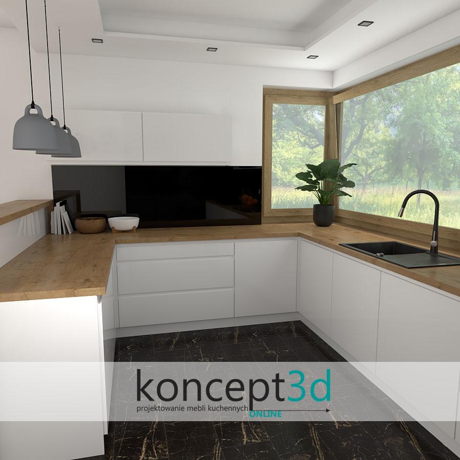 Nowoczesna kuchnia z niskimi wiszącymi szafkami   koncept3d projekty kuchni