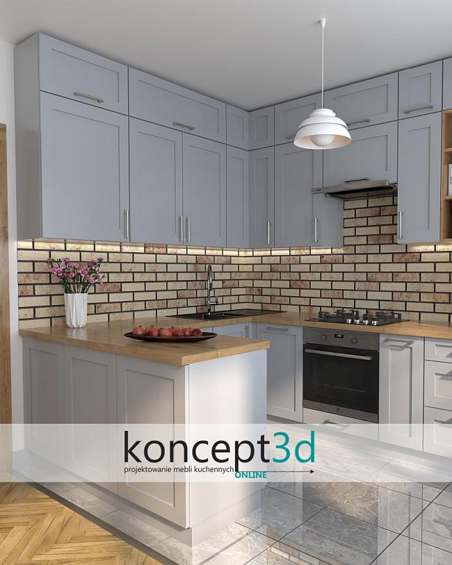 Szara kuchnia z drewnem | koncept3d inspiracje kuchenne